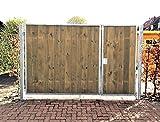 Einfahrtstor / Einbaubreite 350 cm / Einbauhöhe 160 cm / Hochwertiges 2-flügeliges asymmetrisch geteiltes Tor / Aufteilung: 1,0 m + 2,5 m / Verzinkt mit Holzfüllung / Holz Tor Gartentor Hoftor