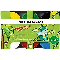 Eberhard Faber - Fingerfarbe Tabaluga, 50 ml, 6 Farbtöpfe + Spielknete, 4er Set + Wachsmalkreiden dreiflächig, 10er Set [ Kreativset ]
