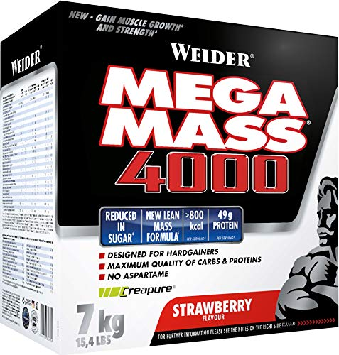 WEIDER Mega Mass 4000 Weight Gainer Shake (mit Protein & Kreatin, Muskelaufbau), Erdbeer, 7kg