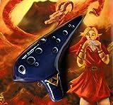 Zelda Ocarina AC 12-Loch dunkelblau mit Polstertasche