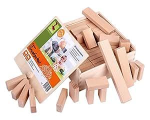 CreaBLOCKS Boîte de 66 blocs de construction en bois naturel non traité
