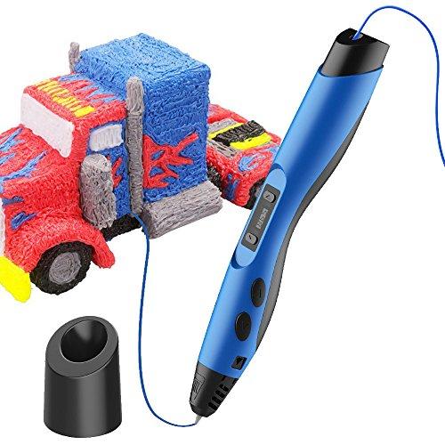 Preisvergleich Produktbild SUNLU Intelligent 3D Printing Pen kompatibel mit Pla/ABS Filament + 2 frei 1,75 mm Filament-Minen, Bestes Geschenk für DIY-blau