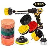JOQINEER Set di accessori per spazzola da trapano da 22 pezzi, kit di spazzole per trapano, lavapavimenti,kit di pulizia per sigillanti per piastrelle, vasca da bagno, lavandini,pavimento