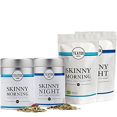 TEATOX Skinny Teatox Programme, Morning & Night, thé vert biologique avec maté & infusion biologique avec rooibos