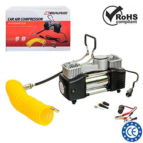 4CARS Auto-Kompressor, Doppelzylinder, 12 Volt mit Hochleistungsmotor, Spiralrohr, max 23 A, bis zu 150 PSI, Fließrate 85 l/min. Inklusive Reißverschluss Tragetasche.
