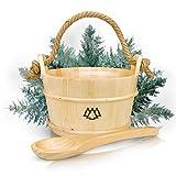 Secchio per sauna con mestolo in 100% abete nordico + inserto, corda di canapa - Pacchetto benessere Pacchetto completo per la vostra sauna domestica - Accessori per infusione di alta qualità