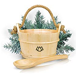 Sauna bucket with ladle made of 100% Nordic spruce + insert, hemp rope - Wellness Complete package for your home sauna - High-quality infusion accessories - 60 days test