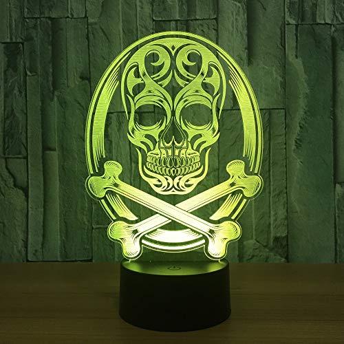 LIkaxyd 3D Lampe Led Täuschung Nachtlicht, 7 Farbwech Ändern Berühren Sie Schreibtisch Lampe,Das Perfekte Weihnachts- Und Neujahrsgeschenk Für Kinder[Energieklasse A+]Halloween Geschenk Totenkopf