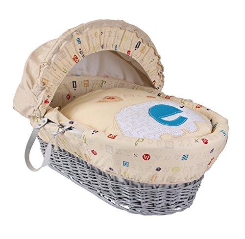 Clair de Lune ABC Wicker Moses Basket inc. bedding, mattress & adjustable hood (Neutral)