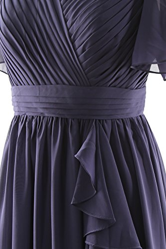 MACloth Women Short Sleeves Mother of the Bride Dress V Neck Formal Evening Gown Sky Blue