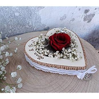 Hochzeit Ringkissen Ringhalter Herz Rose Loveliness rot für Eheringe mit Namen