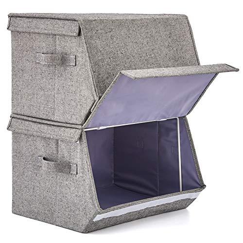 EZOWare Stapelbare Aufbewahrungsbox, Baumwolle Faltbare Aufbewahrungskorb mit Klappdeckel und Griffen für Wohnzimmer, Schlafzimmer, Büro - Grau / 2er Set