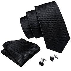 Idea Regalo - Barry.Wang Cravatte Uomo Seta Tinta Unita Fazzoletto e Gemelli per Festa di Matrimonio