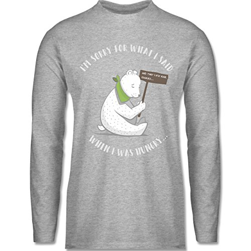 Shirtracer Sprüche - Sorry For What I Said When I was Hungry - Herren Langarmshirt Grau Meliert