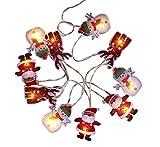 HAAC 10er LED Lichterkette Weihnachtsmann Schneemann Weihnachtsrentier mit 10 Weihnachtsfiguren Länge 210 cm für Weihnacht Weihnachten