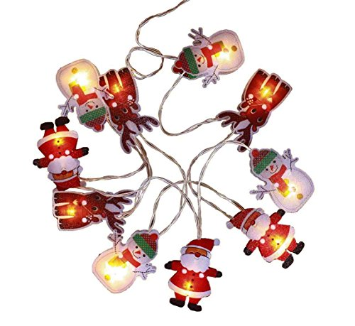 HAAC - Catena di 10 luci a LED Babbo Natale pupazzo di neve renna di Natale con 10 Natale, (Babbo Neve Natale)