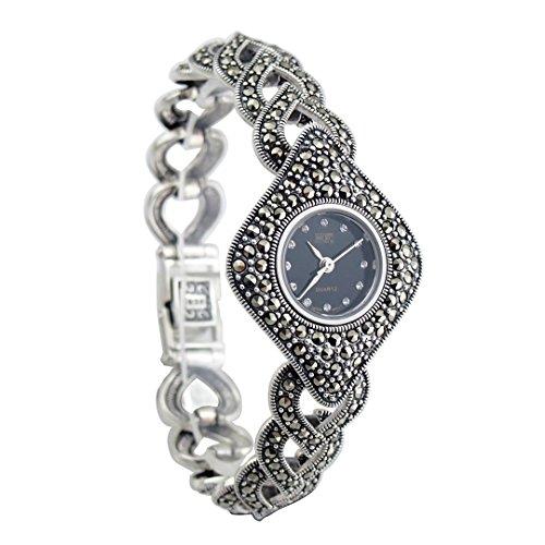 langii Frauen Antik Armbanduhr Luxus Sterling 925Silber mit Markasit Steinen Fassung - Uhren Frauen Sterling Silber