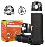 Jerrybox Faltbare Trinkflasche Medizinisches Silikon Wasserflasche 750ml, BPA frei, FDA Geprüft, Tragbare und Auslaufsichere Sportflasche für Outdoor, Reisen, Radfahren, Wandern, Camping und Picknick, Dunkelgrau