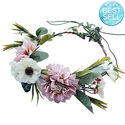Blume Krone Stirnband Blumenkranz Girlande Boho für Hochzeitsfeste oder Mutterschaft Fotografie (Weiß & Rosa) - Mutterschaft Braut-party Kleider