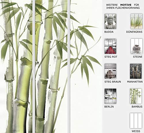 EFIXS 3er Set Flächenvorhang - Motiv Bambus - halbtransparent und lichtdurchlässig - Paneelbreite: 60 cm x H: 245 cm - Gesamt 180 x 245 cm - incl. Flauschband, Paneelwagen und Beschwerungsprofil
