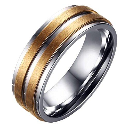 CARTER PAUL Paar Edelstahl Einfache Cam 18K Gold Diamant Ring Hochzeits Band, Herren, Größe 70 (22.3) (Männer Diamant-hochzeit Band-größe 13)