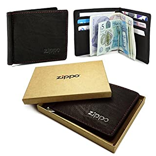 Zippo Personalised Genuine Leather Bi-Fold Men's Wallet & Money Clip - Mocca Brown