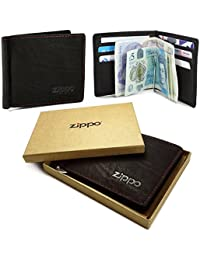 Zippo Personalised Genuine Leather Bi-Fold Men's Wallet & Money Clip - Mocca Brown