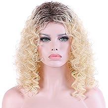 Peluca de pelo largo y rizado negro marrón degradado medio peluca natural puede ser teñido en
