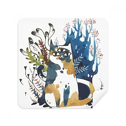 DIYthinker Drei Augen-Katzen-Aquarell-Tier-Glas-Putztuch Telefon Screen Cleaner Suede Fabric 2Pcs