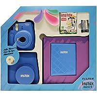 Fujifilm Instax Mini 9 - Kit (Cámara Instax Mini 9 + álbum + funda + paquete de 10 fotografías + lente + pilas), color azul oscuro