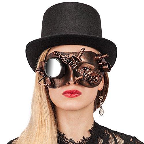 Carnival Toys – Máscara steampunk de plástico duro con espejo, color marrón (1072)