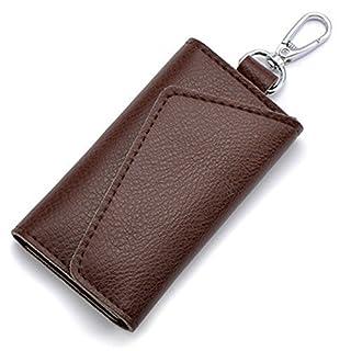 Aladin Leather Pocket Key Organizer Case with 6 Hooks & 1 Car Key Fob Holder Coffee
