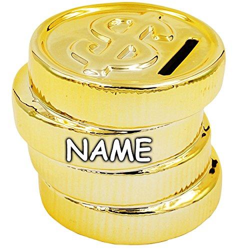 alles-meine.de GmbH 3 Stück _ große XL - Spardosen -  Münzen - Geld / Dollar $ Münze - Geldsegen  - inkl. Name - Gold - aus Porzellan / Keramik - Sparschwein - Münzstapel / Coi.. -
