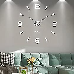 Muto Frameless Grande Orologio a Muro 3D Specchio Adesivo-2 anni di garanzia (Argento-73)