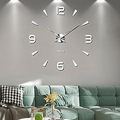 Idea Regalo - Muto Frameless Grande Orologio a Muro 3D Specchio Adesivo-2 anni di garanzia (Argento-73)