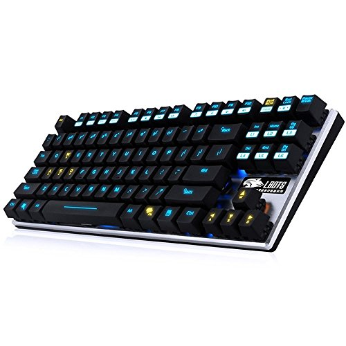 Mechanische Tastatur PC beleuchtet LED Hintergrundbeleuchtung USB Wired Multimedia ergonomisch programmierbar einstellbar Multi Gaming Spiel mit der Tastatur Colorful LED Combo Bundle Set für PC Laptop–Blue Switch