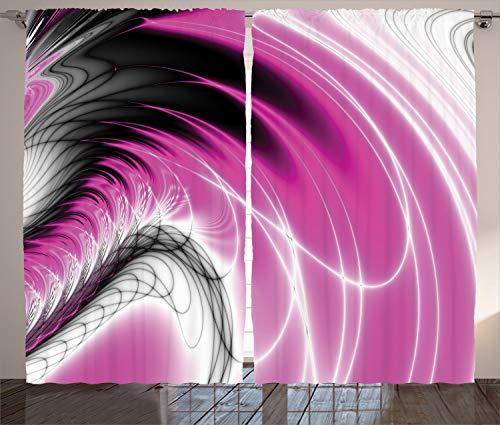 ABAKUHAUS Fractal Rustikaler Gardine, Digitale dynamische Energie, Schlafzimmer Kräuselband Vorhang mit Schlaufen und Haken, 280 x 260 cm, Magenta Schwarz