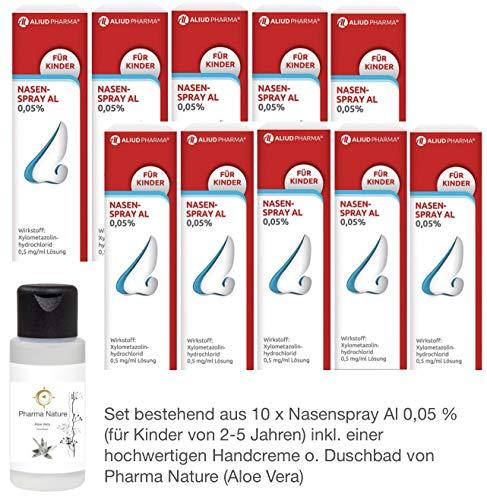 Nasenspray al 0,05{a0f2a65adbef6052a50895cef3603e73198297f367ce753dc337c6deb3bf939e} - 10er Sparset - inkl. einer pflegenden Handcreme o. Duschbad von Pharma Nature (Apotheken-Express)