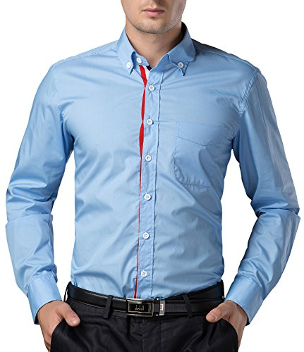 Paul Jones® Herren Slim Fit Langarmhemd Button Down Businesshemd Freizeithemd Hellblau