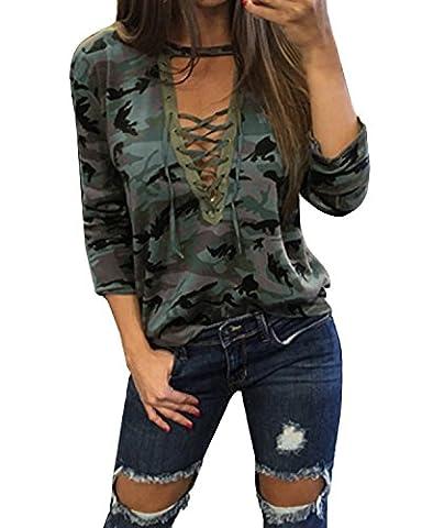 StyleDome Femme Shirt Col V Manches Longues Casual Slim Haut Tops Blouse Chemise Vert EU 46