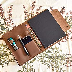 RJKART Letter Size Leather Portfolio, Notepad Holder for Men and Women (6x8 inches)