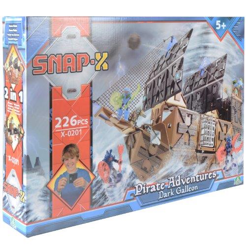 Snap-X Dunkel Galeone Pirat Abenteuer 226 Pce Gebaut & Spielset 2in1 Konstruktion Sturm-snap