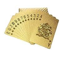 مجموعة بطاقات اللعب بوكر مصنوعة من رقائق معدنية باللون الذهبي، متينة ومقاومة للماء
