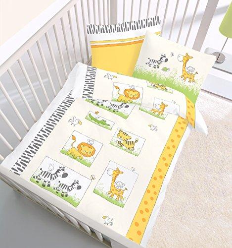 TIERE Fein Biber Baby Kinder Bettwäsche · SAFARI TOUR · Zoo Ausflug · Giraffe Zebra Löwe Tiger - Kissenbezug 40x60 + Bettbezug 100x135 cm - hergestellt in Deutschland - ZOO Kinderbettwäsche