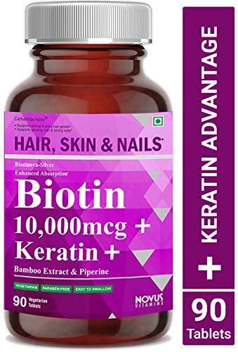 Carbamide Forte Biotin 10,000mcg with Keratin, Bamboo Extract & Piperine for Enhanced Absorption | Supplement for Fast Hair Growth & Treatment - 90 Veg Tablets