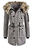khujo Halle Damen Parka Jacke Winterjacke Mantel Dhalia Abrig Jacket Coat in grau lightgrey Stone mud Gr. XS