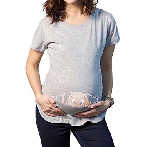 KSchwangere Maternity Umstandsshirt Kurzarm Umstandsmoden T-Shirt mit Witzige Druck Grau/3XL