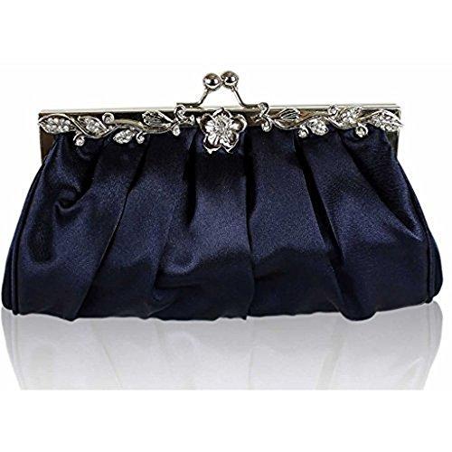 TrendStar Frauen Kupplungs Taschen Damen Kristall Abend Abschlussball Partei Hochzeit Taschen Marine