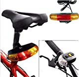 #7: Lighter House 3 In 1 Cycling Bicycle Bike Turn Signal Brake Tail 7 LED Light Electric Horn (Black)