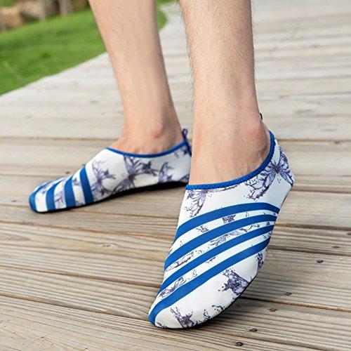 Moresave Peau Chaussures d'eau Chaussures Aqua Chaussettes pour Beach Fitness Swim Surf Course Yoga d'exercice Blanc/bleu